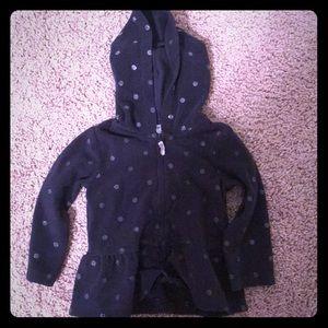 Navy Blue Polka Dot hooded zip up sweatshirt